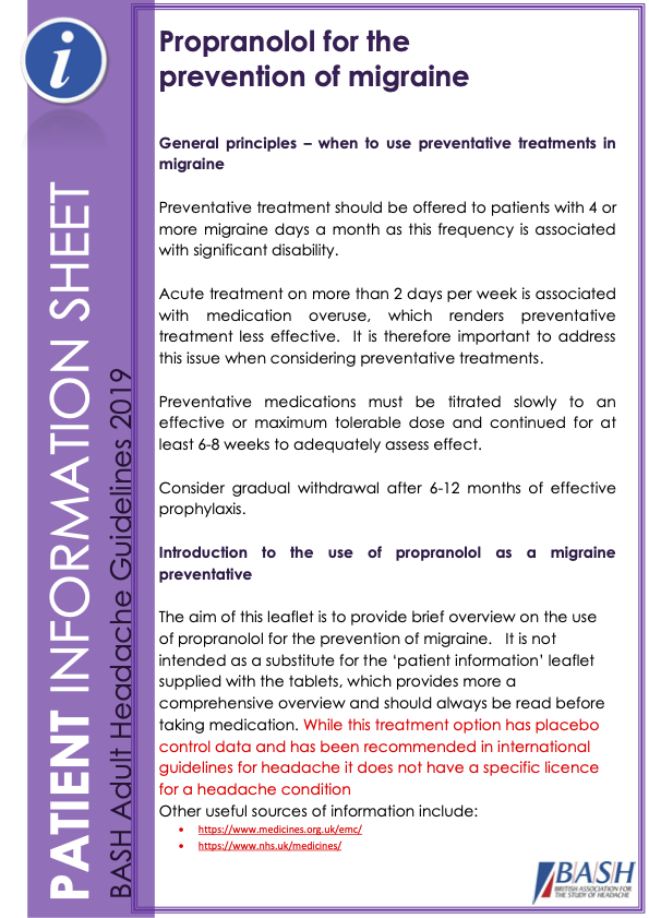 Thumbnail of propranolol information leaflet